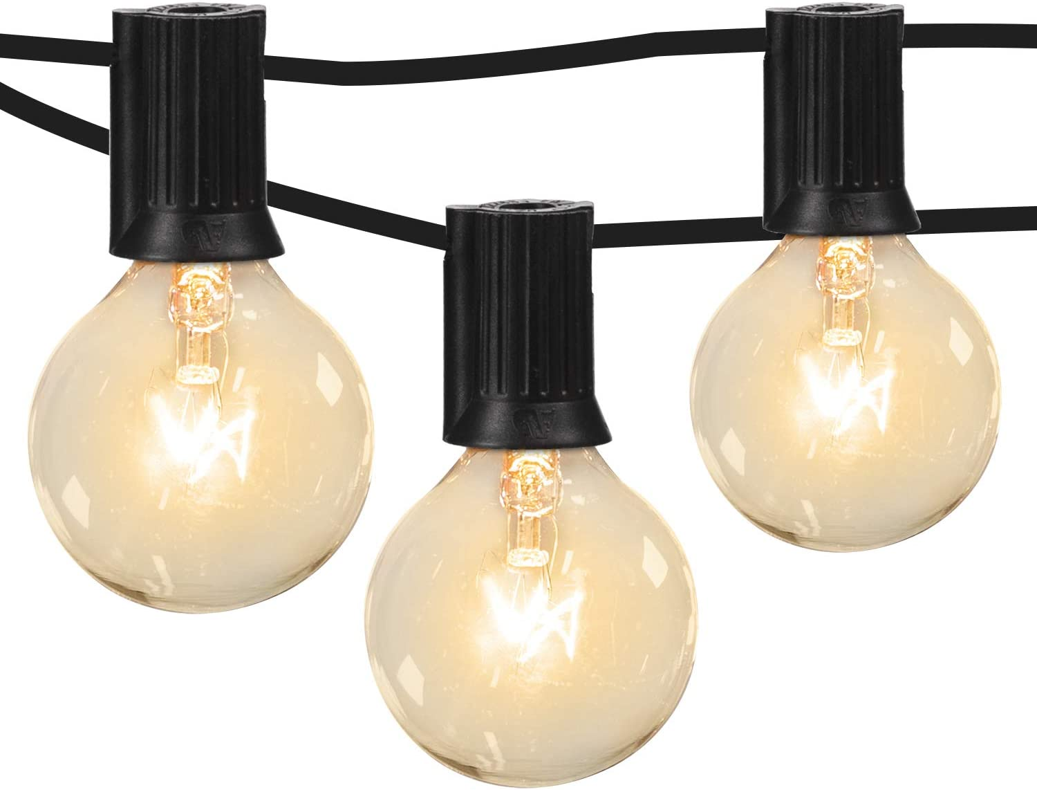 Moonflor 50ft G40 Patio String Lights With 50 Clear Edison Bulbs 2 Spare Bulbs For Indoor Outdoor Commercial Decor Warm White Globe String Lights Perfect For Backyard Garden Pergola Umbrella Black