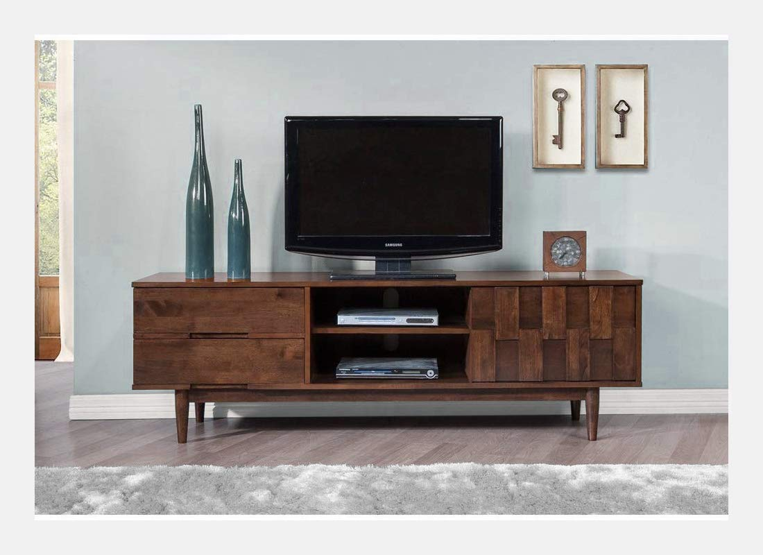 ModHaus Living Mid Century Danish Style Wood 70 inch Media Console TV Stand in Rich Tobacco Brown Finish with 2 Drawers – Includes Pen