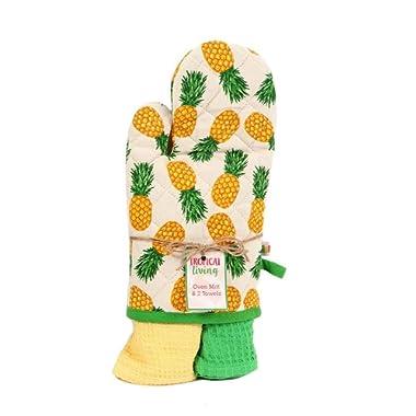 DEI Pineapple Oven Mitt with 2 Dishtowel Gift Set