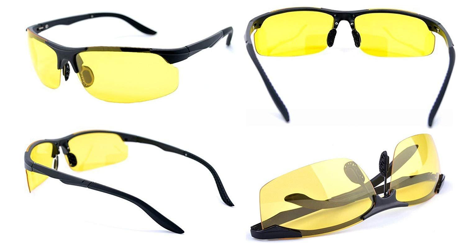 HD Night Vision Driving Glasses for for Men Women - Polarized Safety Glasses for Outdoor Activities - Yellow Anti Glare UV400 Polycarbonate Lenses with Lightweight Aluminum Frame Black Case