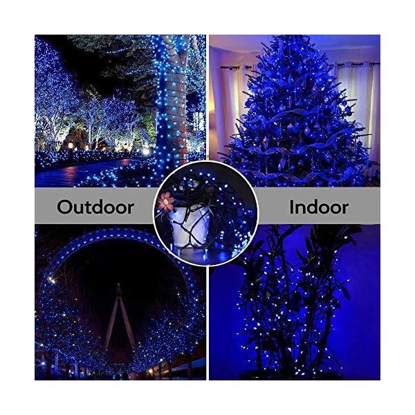 EPESL Luci natalizie 12m 120 leds con 8 modalità di memoria end to end estensibile catene luminose esterni ed interni decorazione per giorno di natale alberi casa Halloween festa giardino - blu 5 spesavip