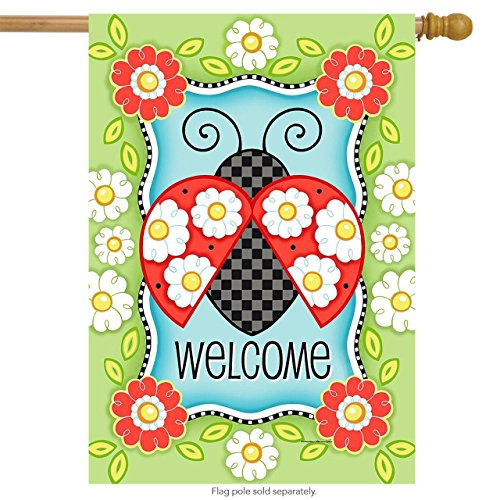 Ladybugs Flag Banner (Briarwood Lane Ladybug Welcome Spring House Flag Floral 28