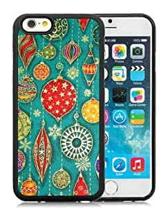 Customization iPhone 6 Case,Christmas Decorations Pattern Black iPhone 6 4.7 Inch TPU Case 1