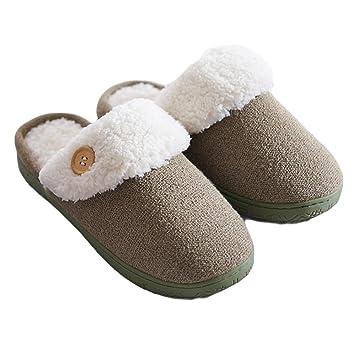 Sichouzhilu Pantuflas antideslizantes calientes Zapatillas de estar por casa interior Soft Bottom Casa Casa Otoño Invierno