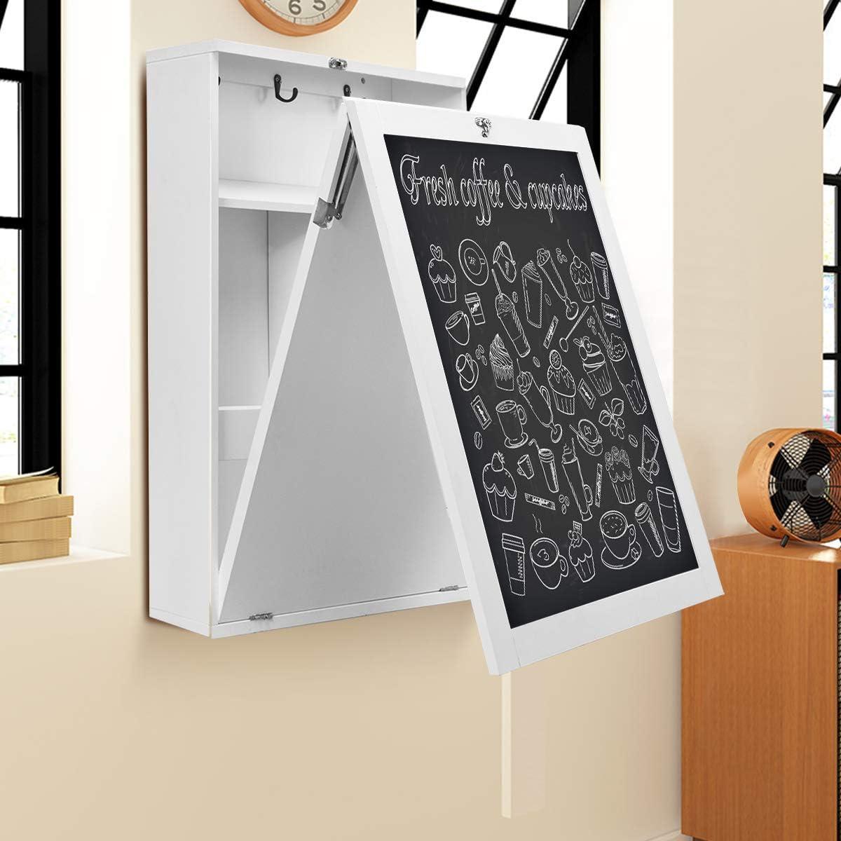 75 x 15,5 x 60 cm Bianco Comoda Scrivania Richiudibile a Parete con Lavagna Bianco//Nero Costway Scrivania Pieghevole con Scaffali