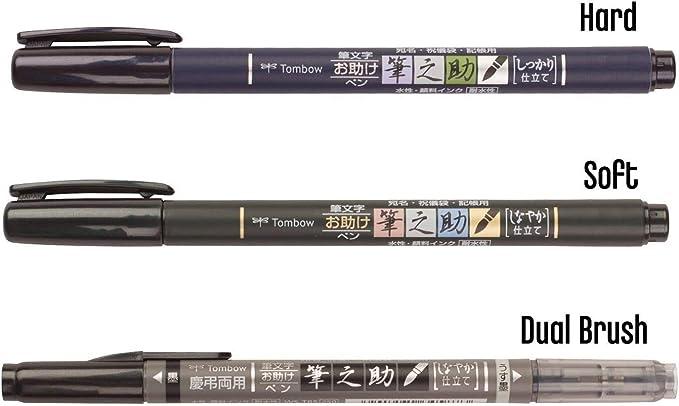 Tombow Fudenosuke, punta de pincel 3 tipo de, rígida (GCD-111), suave (gcd-112), doble cepillo (gcd-121), Original 5 colores notas adhesivas: Amazon.es: Juguetes y juegos
