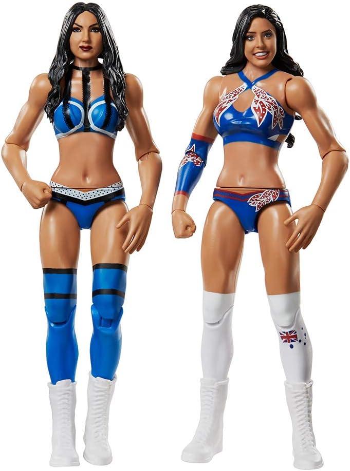 WWE - Pack 2 figuras de acción luchadores Kay vs Royce con accesorios de lucha Juguetes niños +6 años (Mattel GBN66)