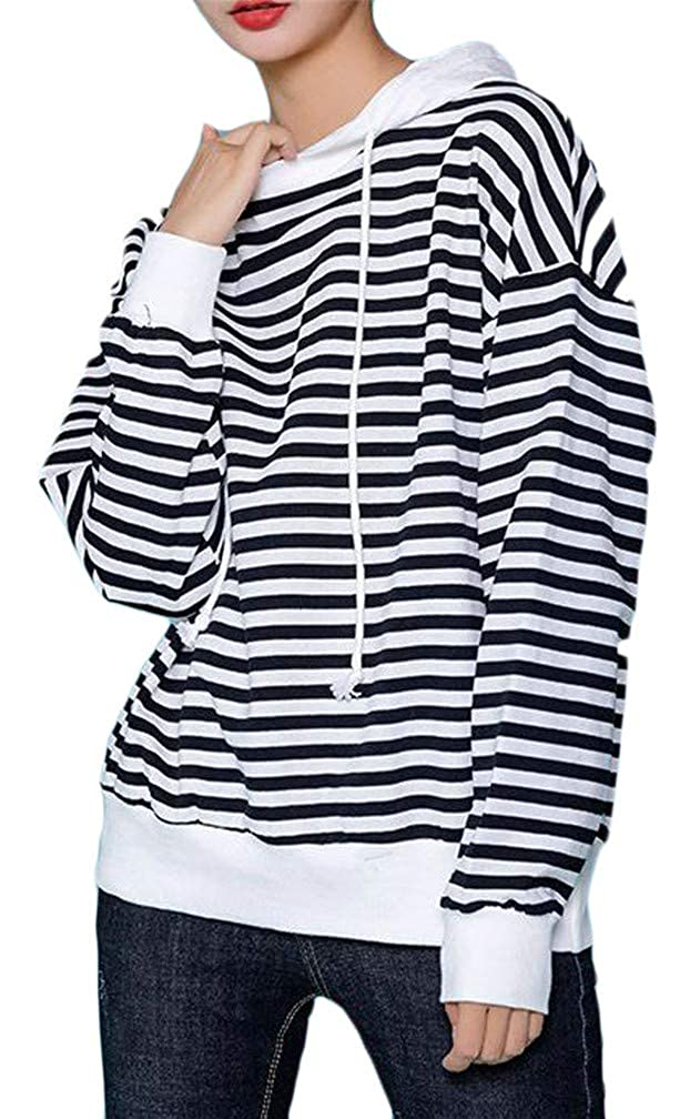 Cromoncent Women Plus Size Casual Drawstring Oversize Striped Hooded Sweatshirts