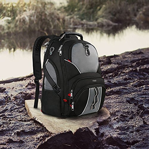 Travel Laptop Backpack, Large Computer Backpack Bag Fits 17 inch Laptop for Men Women for Hiking/School / College, Black TSA Smart Scan Bookbag with 9 Compartments Made of Water-Resistant Fabric by Ytonet (Image #6)