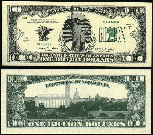 Liberty Billion Patriotic Reserve Note Novelty Dollar Bill Collectible