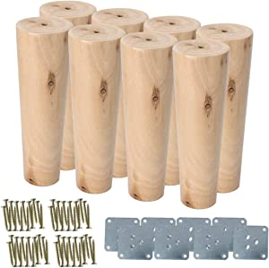 uxcell 7 Inch Round Solid Wood Furniture Legs Sofa Couch Chair Table Sofa Closet Cabinet Feet Replacement Set of 8