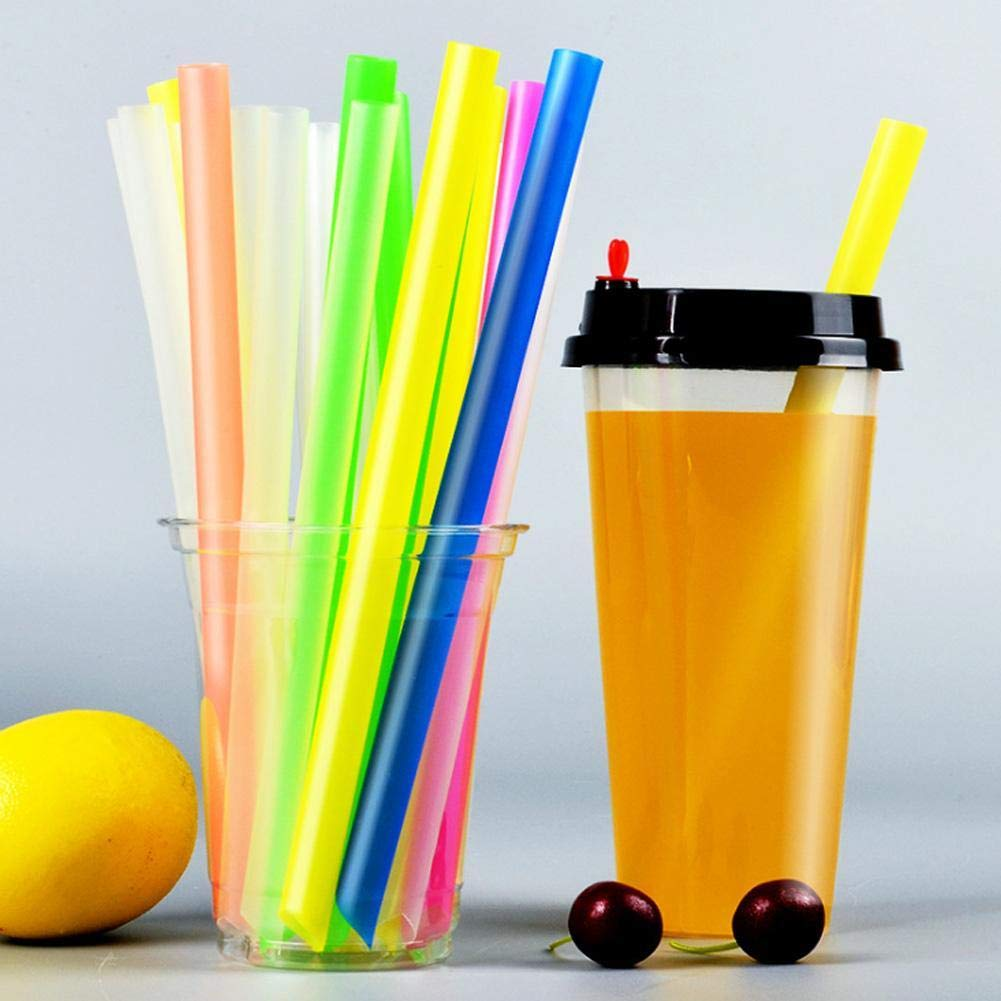 ZHIXX MALL 50 Pcs Large Drinking Straws for Bubble Tea Smoothie Milkshake Party Assorted Colors-Individually Packaged