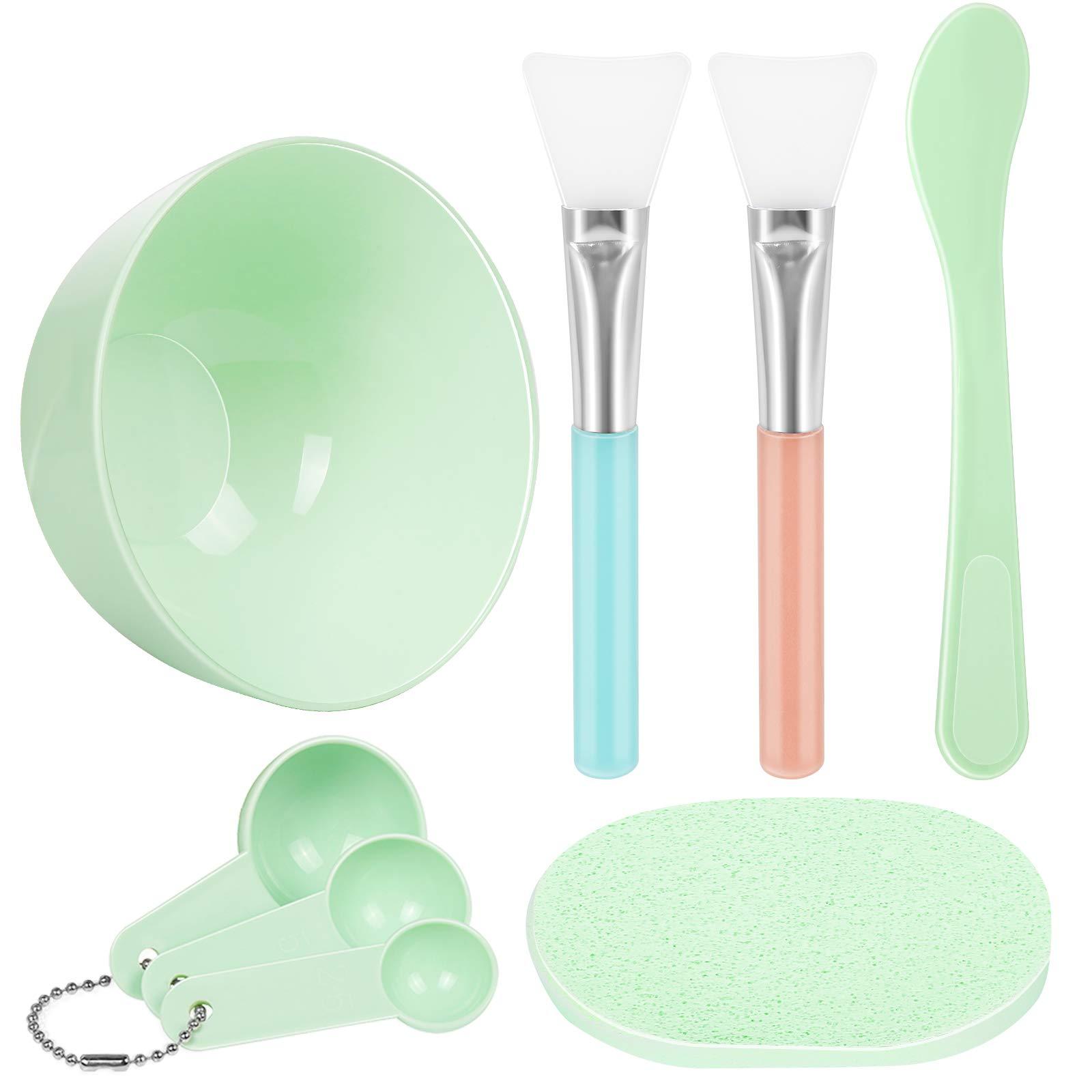 Facial Mask Mixing Bowl Set, Teenitor DIY Facemask Mixing Tool Kit with Silicon Face Mask Brush Facial Mask Bowl Stick Spatula Gauges Puff, Pack of 8, Green