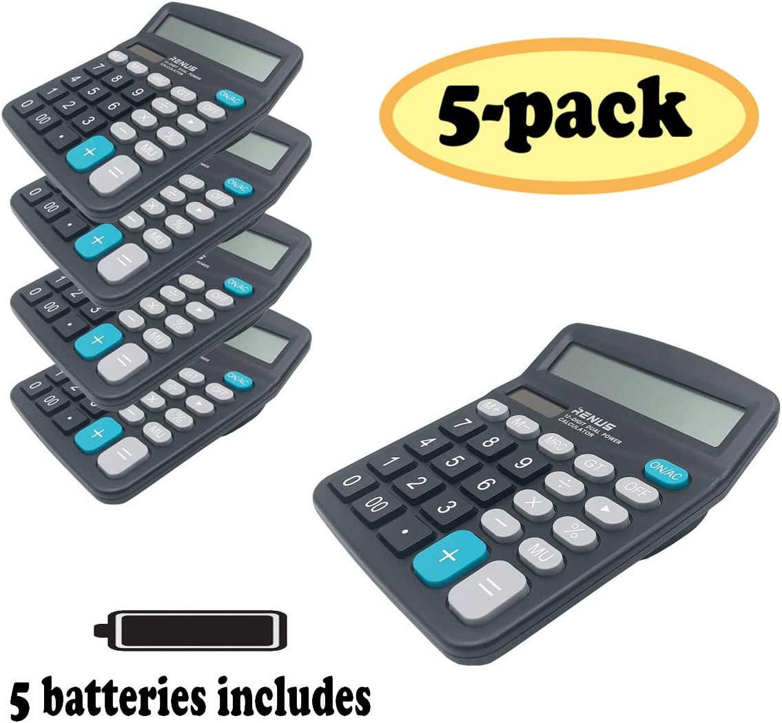 RENUS Calculator 5 Packs, Electronic Desktop Calculator with 12 Digit Large Display, Solar Battery LCD Display Office Calculator