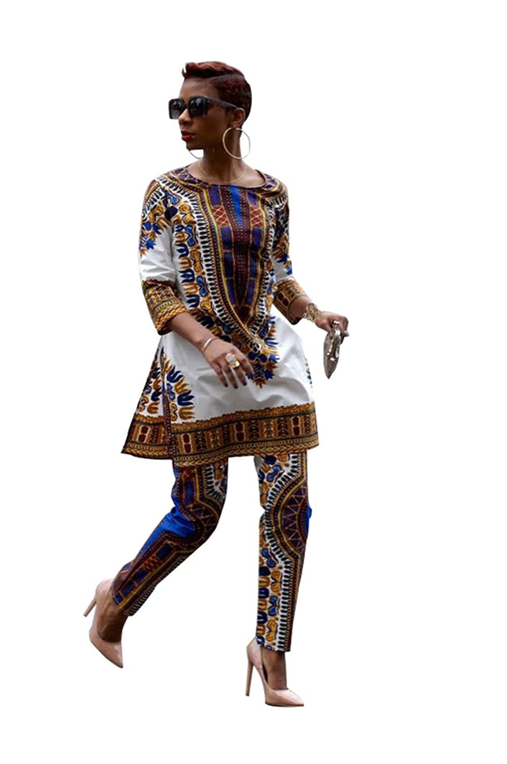 Hisimple African Women Fashion 3//4 Sleeve Casual Dashiki Shirt and Pants Set Outfit Suit Set
