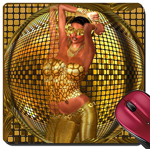 Price comparison product image Liili Suqare Mousepad 8x8 Inch Mouse Pads/Mat Disco ball dance girl A sexy dances in front of gold while wearing sunglasses pants and halter top Image ID 23071201