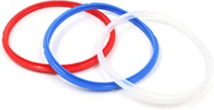 MTMTOOL 3 Pack Silicone Power Pressure Cooker Sealing Ring Food-Grade Silicone Replacement Gasket Pressure Cooker Accessories for 5 or 6 Qt Models - Red White Blue