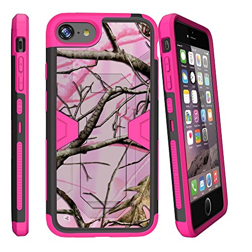 MINITURTLE Case Compatible w/ Max Defense Case iPhone 7 | iPhone 8 Pink Case (4.7) Hybrid Dual Clip Case w/ Stand and Tempered Glass [iPhone 7 | iPhone 8 pink camo case] Pink Hunt Camo