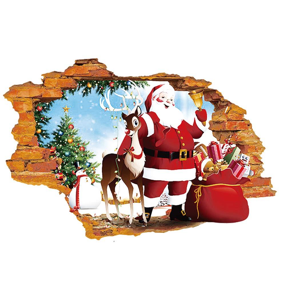 Ruiting Kreative 3D Effekt Weihnachtsmann & Elk Wandtattoo Weihnachten Removable Fenster Tür Aufkleber PVC Aufkleber Hauptdekoration Home dekor