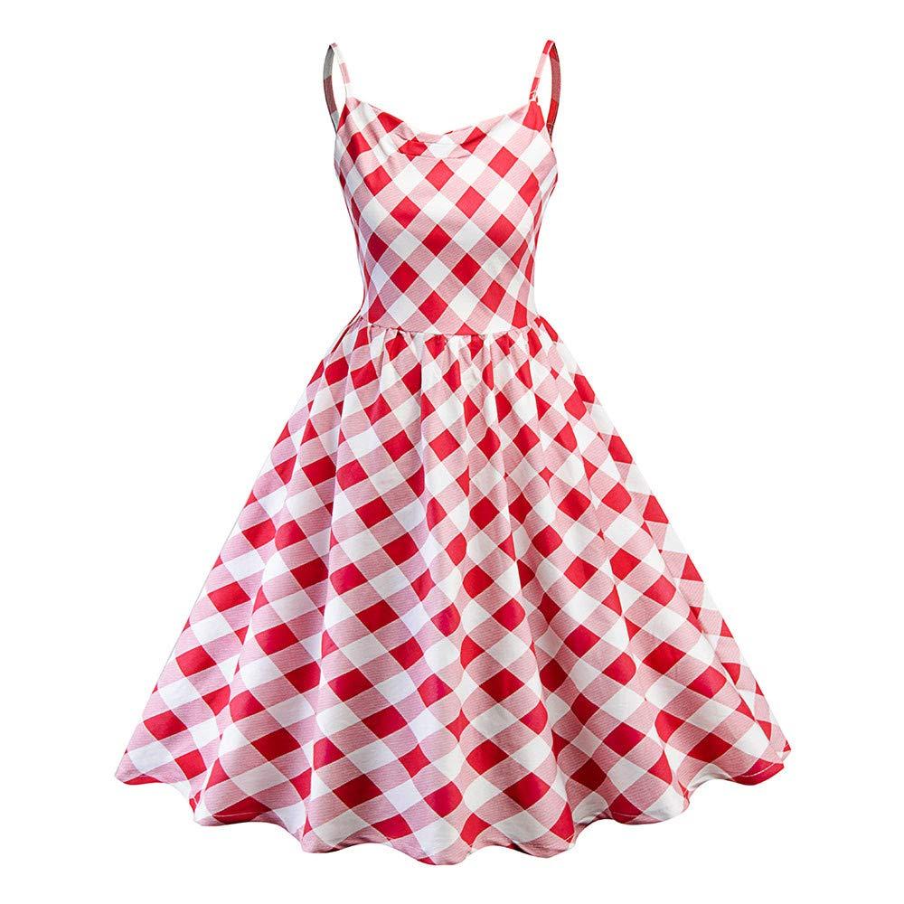 4Clovers Women 1950s Vintage Hepburn Princess Plaid Sleeveless Sling Party Dress A-line Swing Dress