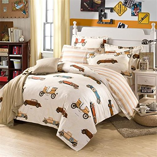 LELVA Kids Bedding for Boys Cartoon Cars Bedding Set Boys Bedroom Bedding Fitted/ Flat Sheet Set Twin Full (Planes Full Size Bedding Set)