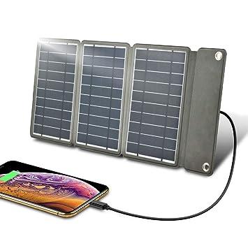 Zuukoo Cargador Solar portátil, Panel Solar de 5V 16W con Puertos USB Dobles a Prueba de Agua Plegable para teléfonos Inteligentes, tabletas y Viajes ...