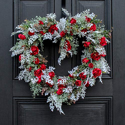(Darby Creek Trading Winter's Romance Red Rose & Dusty Miller Heart Valentine Wreath)