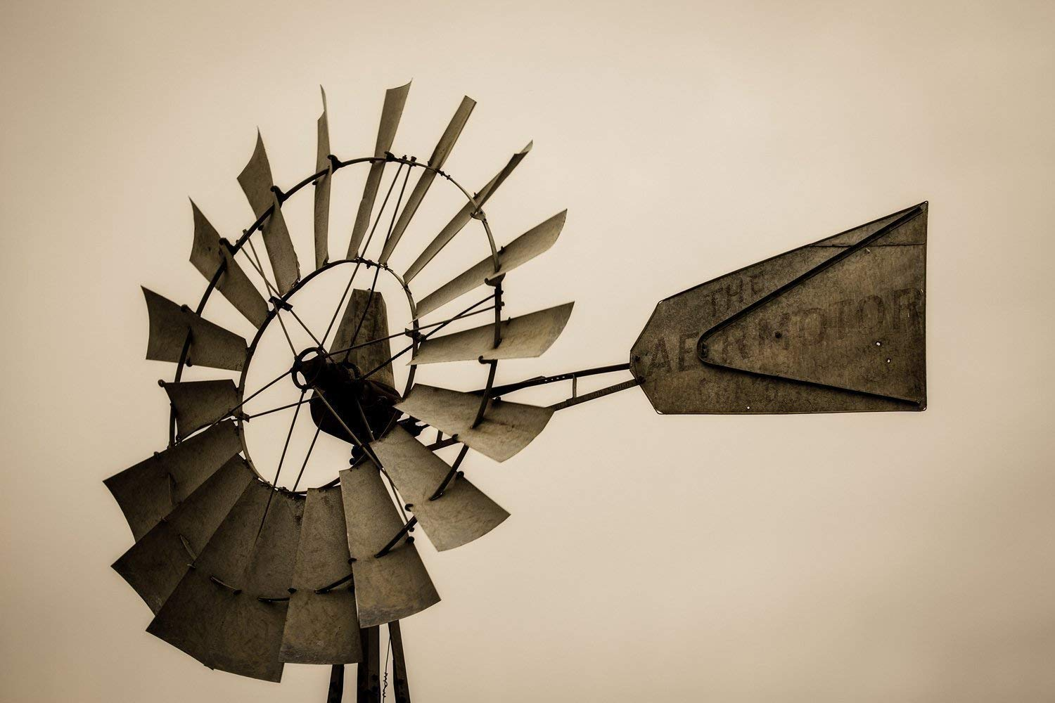 Picture of Windmill Head on Iowa Farm in Sepia Tone Farmhouse Decor 5x7 to 40x60 Country Photography Wall Art Print