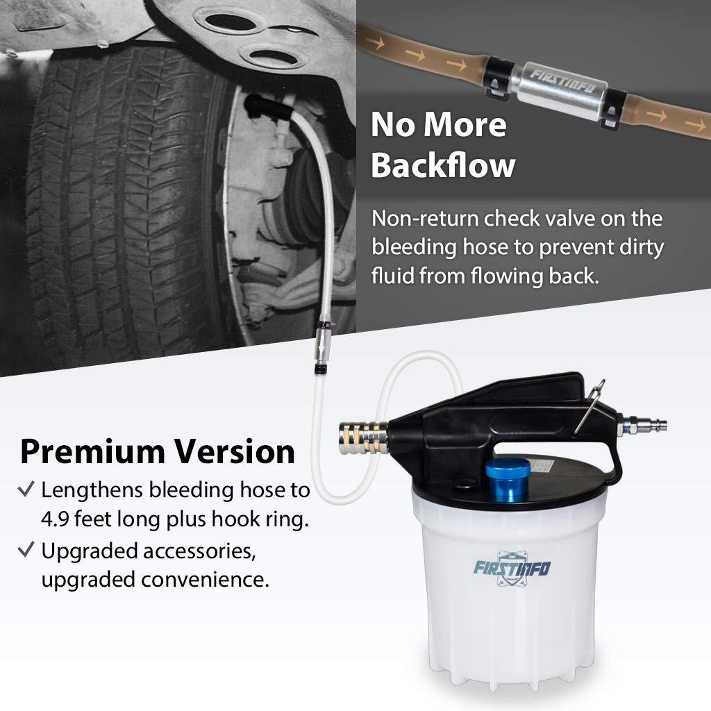 Fuzbaxy Pneumatic Brake Fluid Bleeder Tool Clutch Kit with Bottle 0.75 Liter ~Master Cylinder 90~120 PSI Air Pressure Fluid Bleed Tool