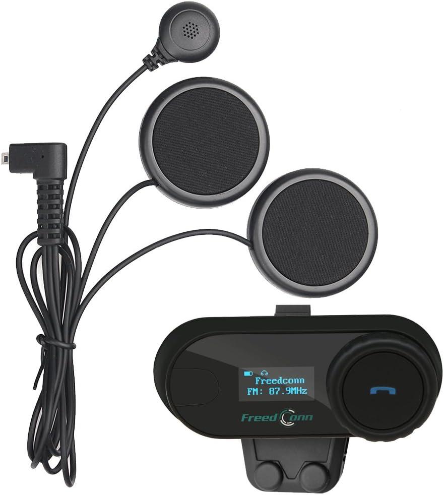 FreedConn Moto Motociclista Casco Bluetooth TCOM-SC Intercom Interfono Inalambrico Intercomunicador Equitación Esquí (Pantalla LCD/Manos Libres/Radio FM/Mp3/GPS/800M/Impermeable/1 Pieza Cable Suave)