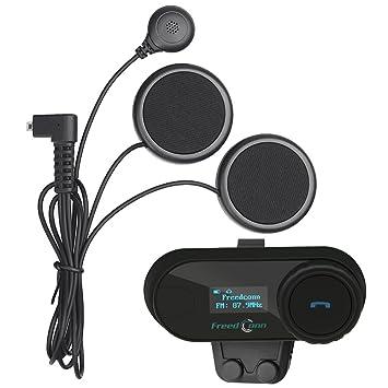 9283c1f4497e0 Freedconn TCOM-SC Moto Intercom Oreillette Bluetooth Casque de Moto  Interphone intercom headsets avec GPS, Radio FM, Ecran LED (1 pièce avec ...