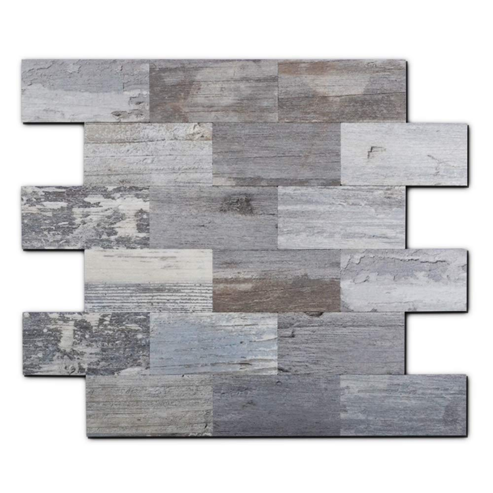Yipscazo Peel and Stick Tile Backsplash, PVC Light Rustic Backsplash Wood Tile for Kitchen Peel and Stick (13'' X 11'', 5 Sheet) by Yipscazo