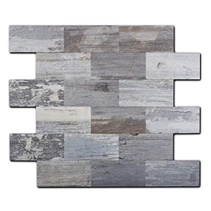 Yipscazo Peel and Stick Tile Backsplash, PVC Light Rustic Backsplash Wood  Tile for Kitchen Peel and Stick (13\