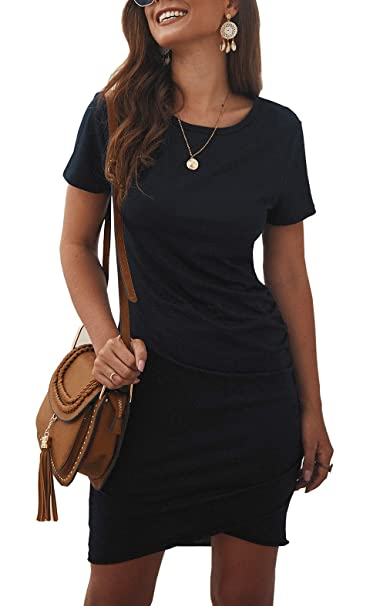 big discount retail prices good texture BTFBM Women's 2019 Casual Crew Neck Ruched Stretchy Bodycon T Shirt Short  Mini Dress