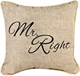 """Manual Woodworkers & Weavers Word Throw Pillow, Mr. Right, 12"""""""
