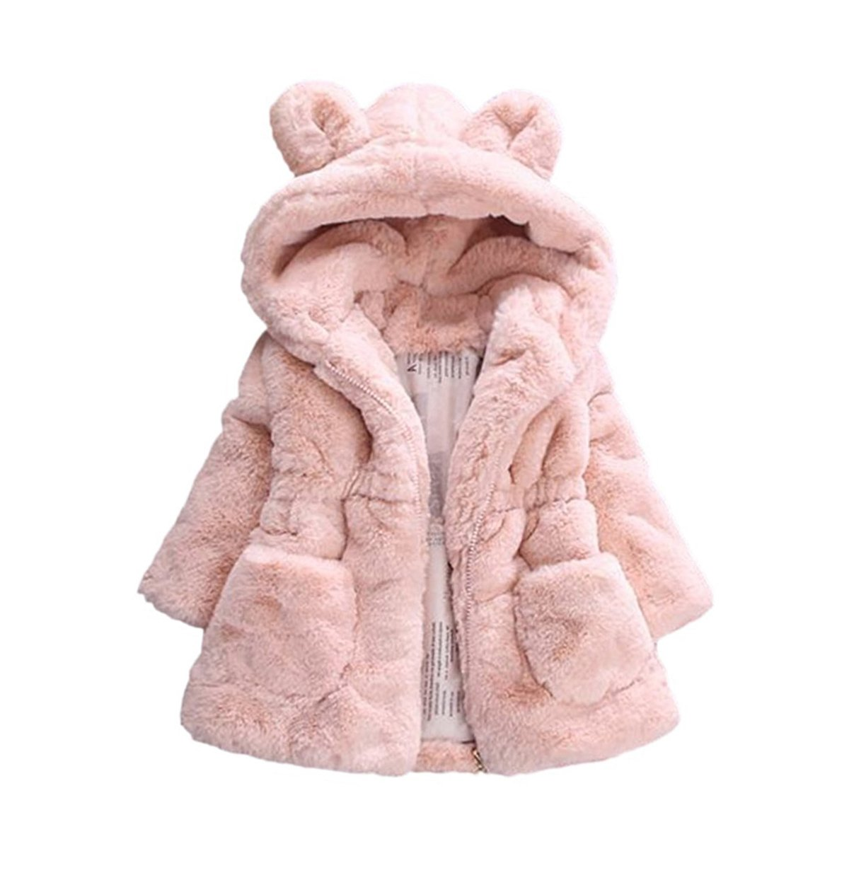 TAIYCYXGAN Baby Little Girls Winter Fleece Coat Kids Faux Fur Jacket with Hood Thicken Outwear Warm Overcoat Pink 120 by TAIYCYXGAN