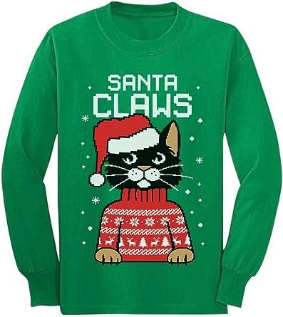 Santa Claws Cat Ugly Christmas Sweater Youth Kids Sweatshirt X-Large Red TeeStars