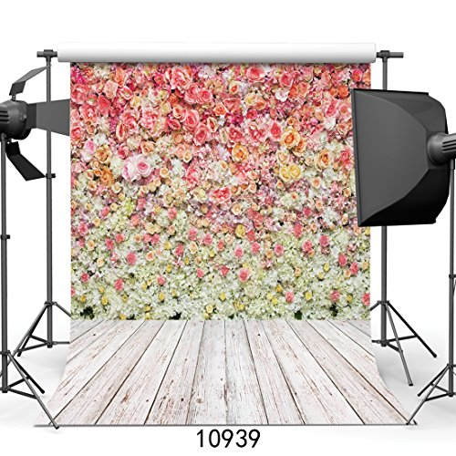 Price comparison product image SJOLOON 6X9FT Wedding Valentine's Day Studio Background Photography Flower Backdrops Colorful Rose Wall Romantic for Thick Backdrop 10939