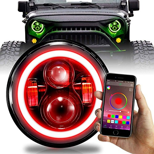 Colour Rgb - 7 inch LED Halo Projector Headlights RGB Color Change Wireless (2 Pack)