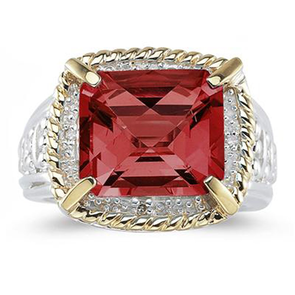 Silvostyles 7.60 Ct Emerald Cut Red Garnet And Sim. Diamond Ring In 14K Two-Tone Plated