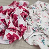 """2 Pack Softest Bamboo Muslin Swaddle Blankets for Baby 70% Bamboo 30% Cotton XL 47""""x 47"""" by Graced Soft Luxuries (Floral Garden)"""