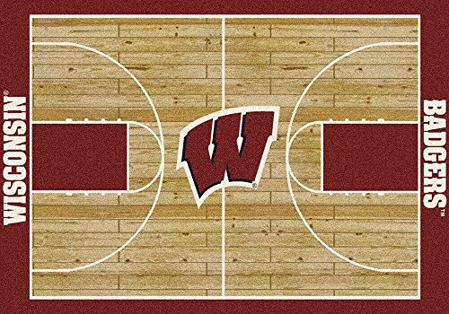 "Wisconsin Badgers NCAA Area Rug - Home Court (5'4"" x 7'8"") (Carpet Wisconsin Badgers)"