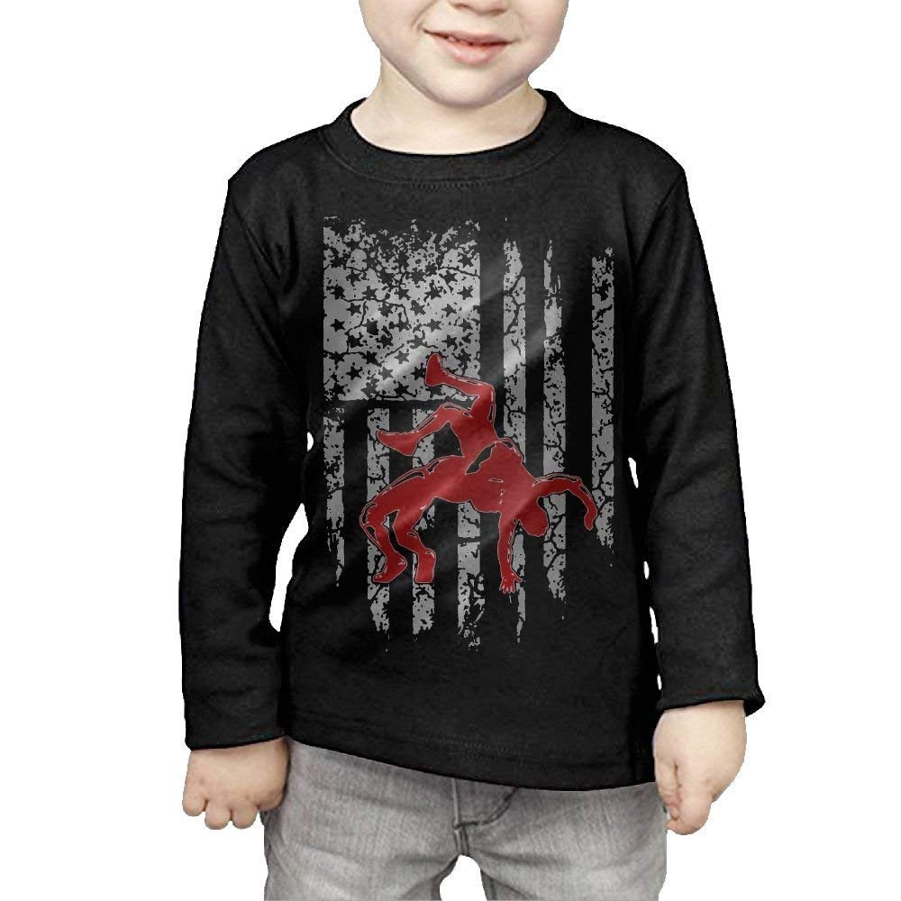 Susankley Kids Funny USA Wrestling Cotton TShirts Infants Boys/Girls Summer Outfit Clothes Black 4T