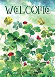 Morigins Welcome Clover Garden Decorative St.Patrick's Day Double Sided House Flag 28''x40''
