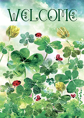Lucky Shamrock Flag (Morigins Welcome Clover Garden Decorative St.Patrick's Day Double Sided Garden Flag 12.5