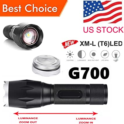 G700 X800 LED Tactical Military XM-L T9 Flashlight Torch Waterproof Zoom US