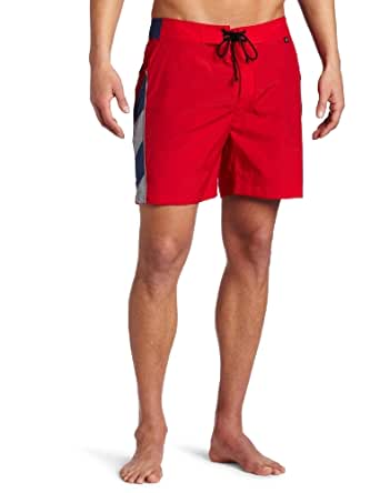 Victorinox Men's Quick Dry 6 Inch Sdiag Stripe Inset Board Short, Sonic Red, Large