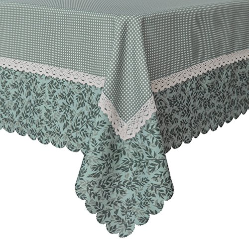 - Decorative Green Mesh Print Lace Water Resistant Tablecloth Wrinkle Free and Stain Resistant Fabric Tablecloths for Kitchen Room 60 Inch by 84 Inch