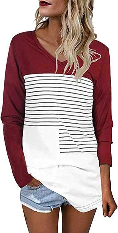 Camiseta Manga Larga de Mujer Patchwork Elegante Color sólido Blusa Blanco Camisa Basica Camiseta Otoño Tops Casual Fiesta T-Shirt Original Chaqueta ...