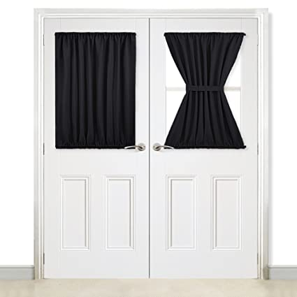 NICETOWN Blackout Curtain French Doors   Thermal Insulated Blackout Glass Door  Curtain Panel Tie Back (